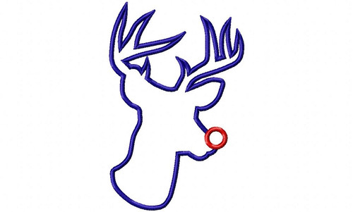 Large Applique Red Nosed Reindeer Machine Embroidery Design