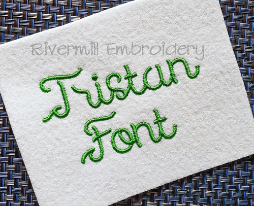 Tristan Machine Embroidery Font Alphabet