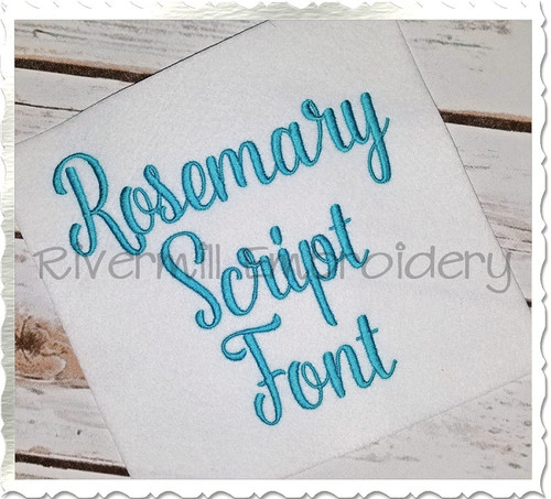 Rosemary Script Machine Embroidery Font Alphabet