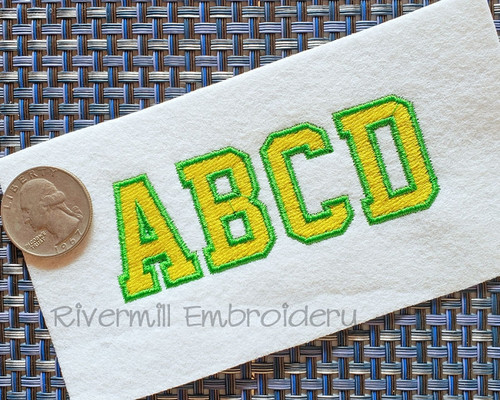 Small 2 Color Varsity Style Machine Embroidery Alphabet
