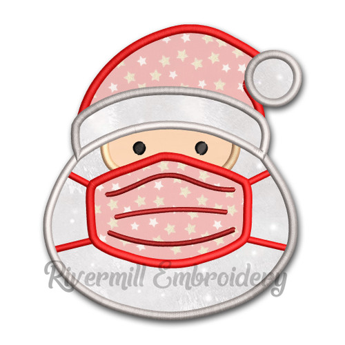 Santa Claus With A Face Mask Applique Machine Embroidery Design