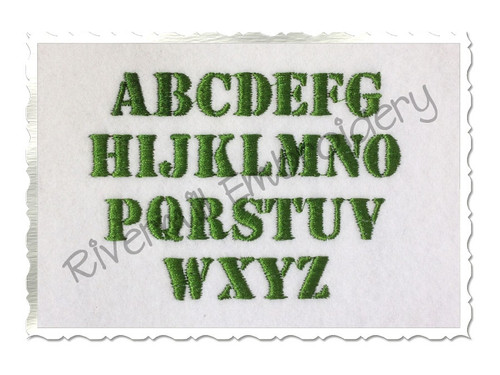 "1/2"" Size Only Army Stencil Machine Embroidery Font"