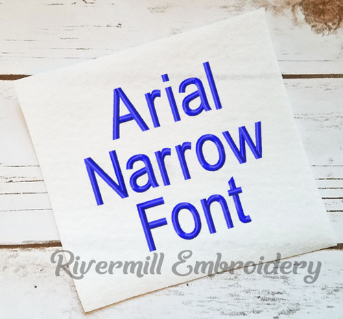 Arial Narrow Machine Embroidery Alphabet