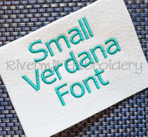 Small Verdana Block Machine Embroidery Font Alphabet