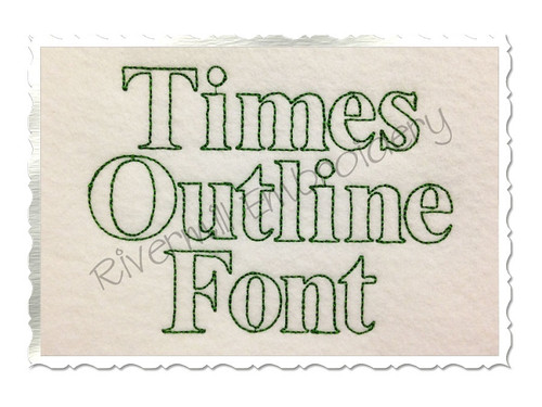Times Outline Machine Embroidery Font Alphabet