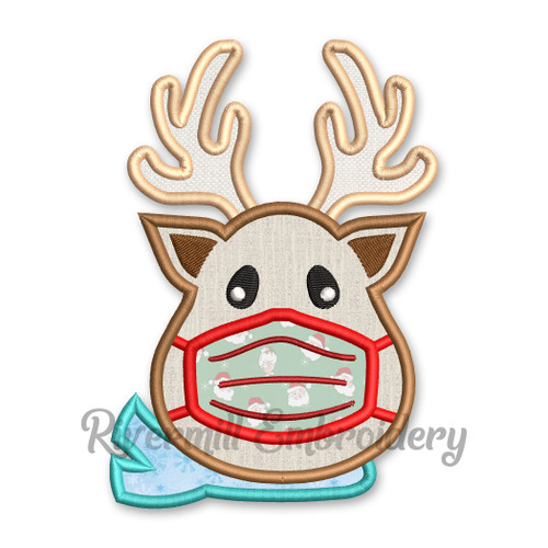 Reindeer With A Face Mask Applique Machine Embroidery Design