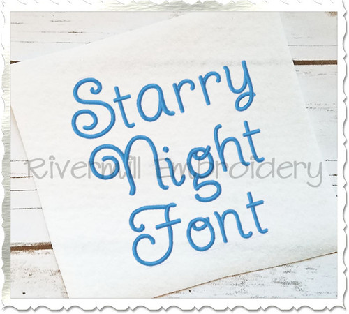 Starry Night Machine Embroidery Font Alphabet
