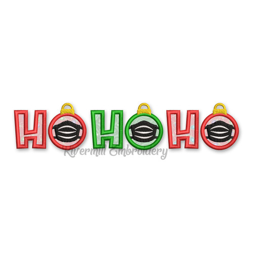 Ho Ho Ho Ornaments With A Face Mask Applique Machine Embroidery Design