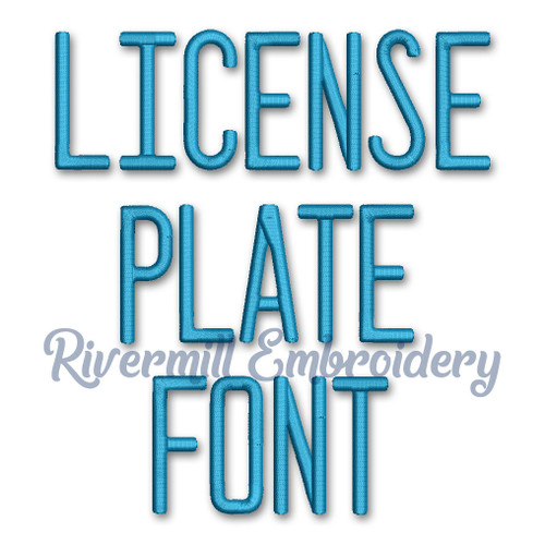 License Plate Machine Embroidery Font Alphabet