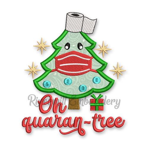 Oh Quarantree Christmas Tree With A Face Mask Applique Machine Embroidery Design