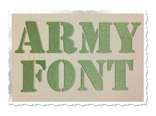 Army Stencil Machine Embroidery Font Alphabet