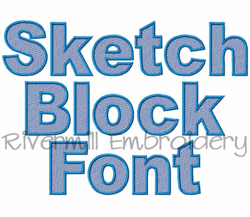Sketch Style Block Machine Embroidery Font Alphabet