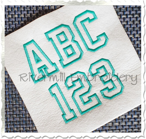 Varsity Outline Font Machine Embroidery Font Alphabet