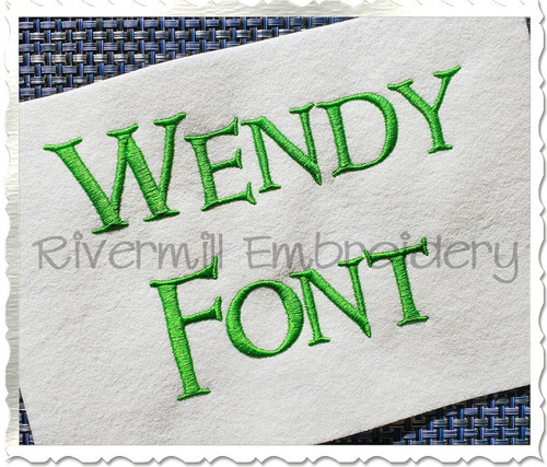Wendy Machine Embroidery Font Alphabet