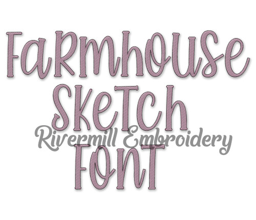 Farmhouse Sketch Style Font Machine Embroidery Font Alphabet