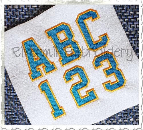 2 Color Varsity Style Machine Embroidery Alphabet