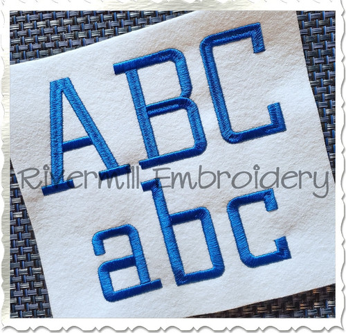 Large Athletic Block Thin Machine Embroidery Font Alphabet