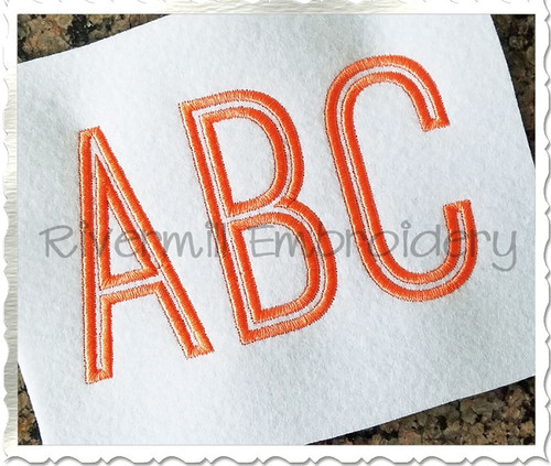 Tall Thin Outline Font Machine Embroidery Font Alphabet