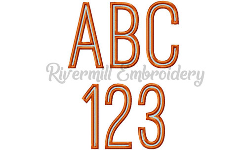 Two Color Tall Thin Outline Font Machine Embroidery Font Alphabet