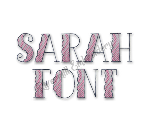 Sarah Machine Embroidery Alphabet Font - Scalloped with Sketch Fill