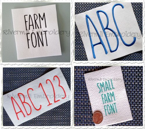 Font Pack - 4 Different Sets - Farm Style Font Machine Embroidery Font Alphabet