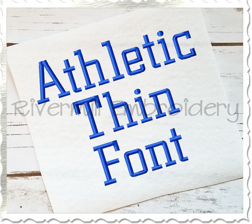 Athletic Block Thin Machine Embroidery Font Alphabet