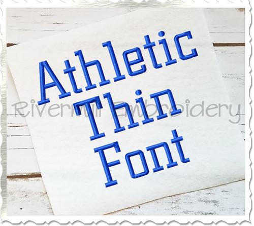 Athletic Block Thin Machine Embroidery Font Alphabet