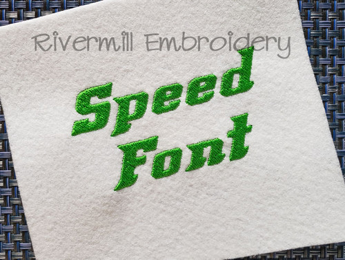 Speed Machine Embroidery Font Alphabet