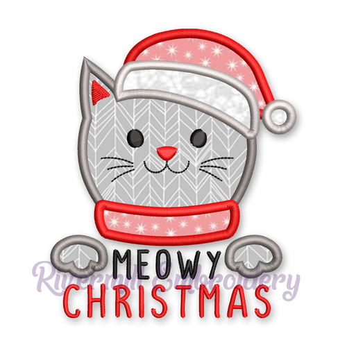 Meowy Christmas Applique Machine Embroidery Design