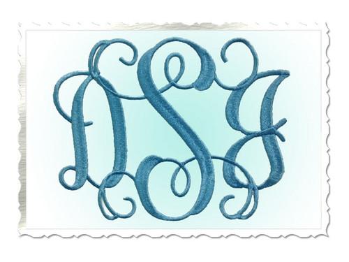 Large Intertwined Monogram Machine Embroidery Font Alphabet