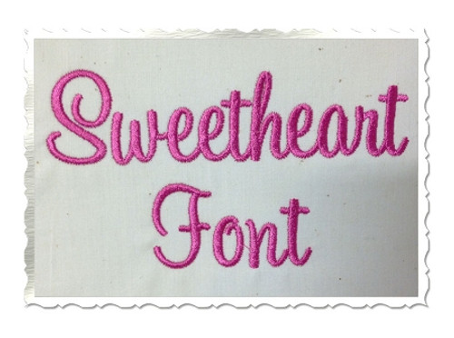Sweetheart Machine Embroidery Font Alphabet