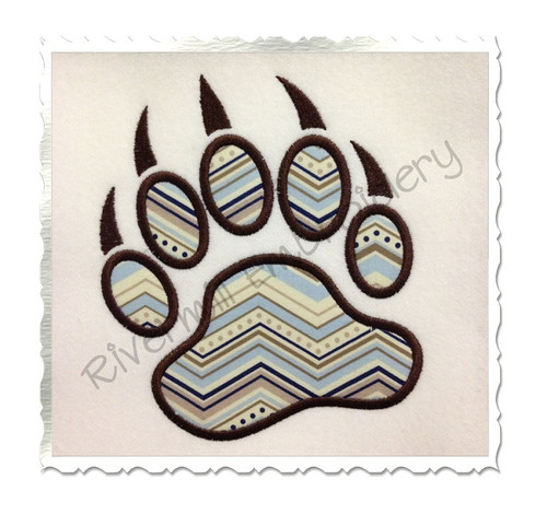 Applique Bear Paw Print Machine Embroidery Design