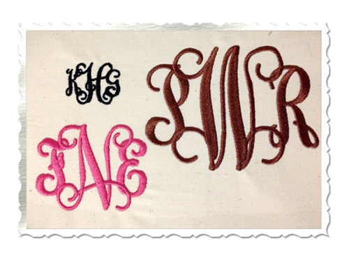 Intertwined Machine Embroidery Font Alphabet