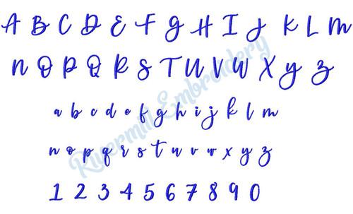 Small Katy Script Machine Embroidery Font Alphabet