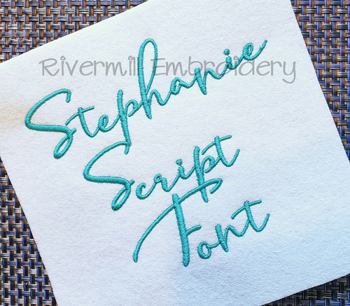 Stephanie Script Machine Embroidery Font Alphabet