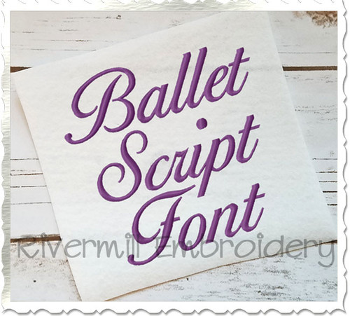 "2 1/2"" Size Only - Ballet Script Machine Embroidery Font Alphabet"