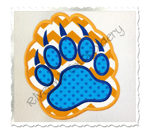 Double Applique Bear Paw Print Machine Embroidery Design