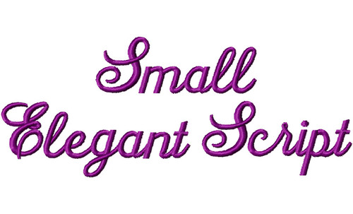 Small Elegant Script Machine Embroidery Font Alphabet