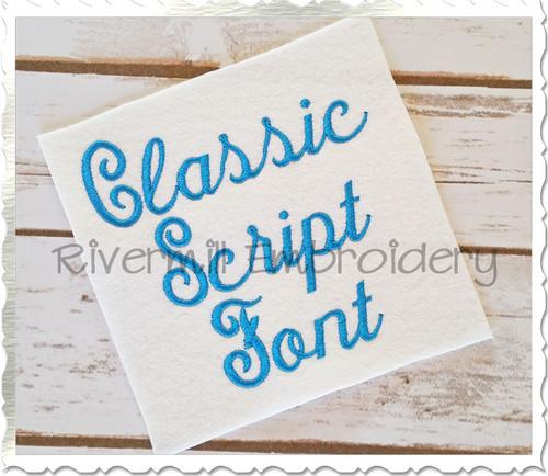 Classic Script Machine Embroidery Font Alphabet