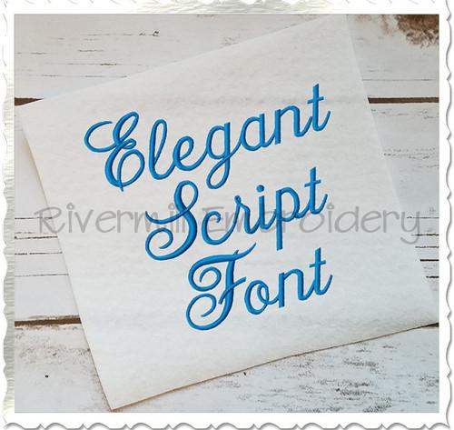 Elegant Script Machine Embroidery Font Alphabet