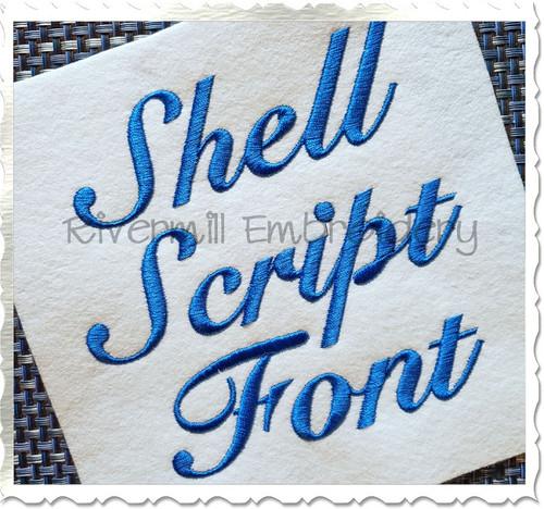 Shell Script Machine Embroidery Font Alphabet