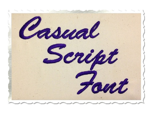 Casual Script Machine Embroidery Font Alphabet