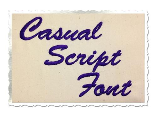 Casual Script Machine Embroidery Font Alphabet