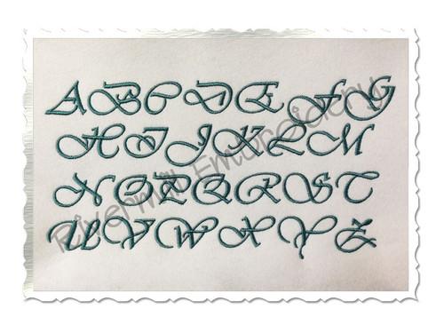 Vivaldi Machine Embroidery Font Alphabet