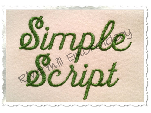 "1 1/2"" Inch Size ONLY Simple Script Machine Embroidery Font"