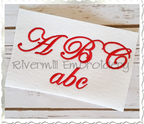 "1 1/2"" Inch Size ONLY Edwardian Script Machine Embroidery Font"