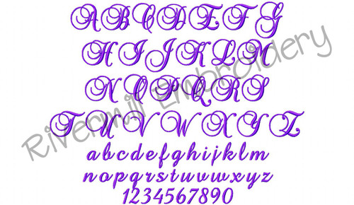 """1 1/2"""" Size Only - Brock Script Machine Embroidery Font"""