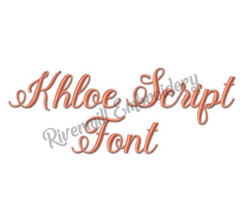 Khloe Script Machine Embroidery Font Alphabet