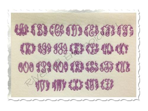 Small Mini Classic 3 Letter Monogram Machine Embroidery Font Alphabet