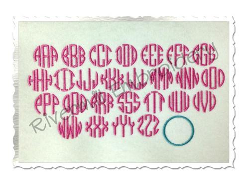 Small Mini Thin Round Monogram Machine Embroidery Font Alphabet